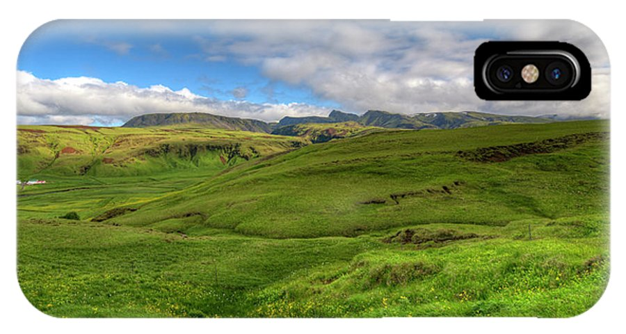 Landscape IPhone X Case featuring the photograph Grassy Meadow South Iceland by Mike Deutsch