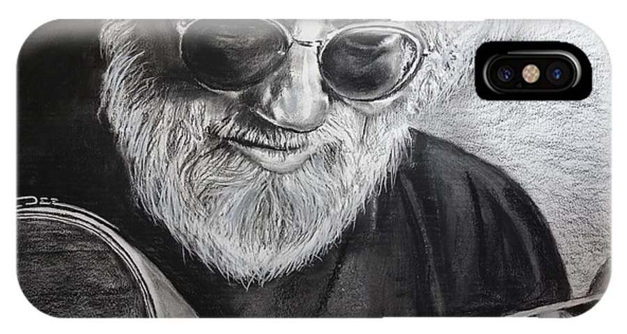 Jerry Garcia IPhone X Case featuring the drawing Grateful Dude by Eric Dee