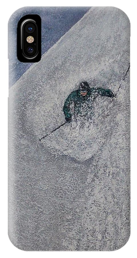 Ski IPhone X Case featuring the painting Gravity by Michael Cuozzo