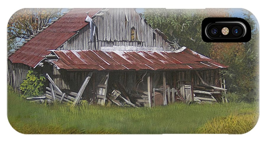 Landscape IPhone X Case featuring the painting Gray Farm Building by Peter Muzyka