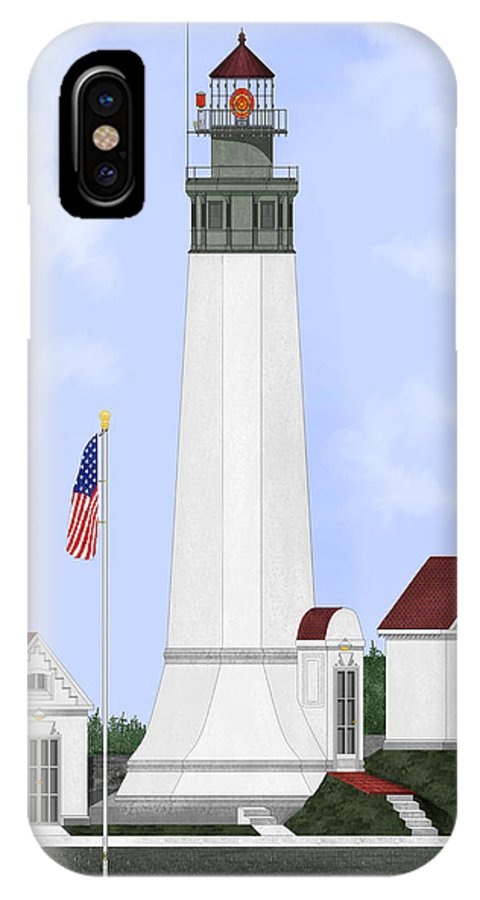 Lighthouse IPhone X Case featuring the painting Grays Harbor Light Station Historic View by Anne Norskog