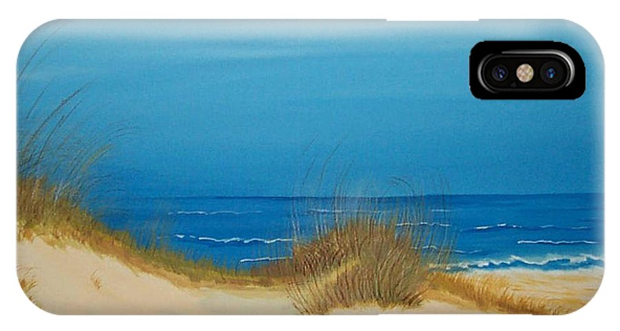 Beach IPhone X Case featuring the painting Grayton Beach Dunes by Nancy Nuce