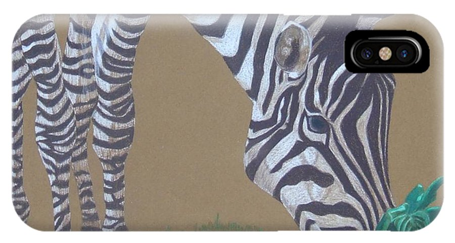 Zebra IPhone X Case featuring the painting Grazing At The Salad Bar by Anita Putman