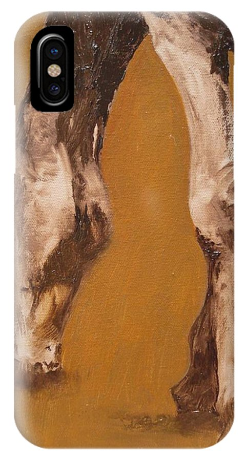 Animals IPhone X Case featuring the painting Grazing by Barbara Andolsek