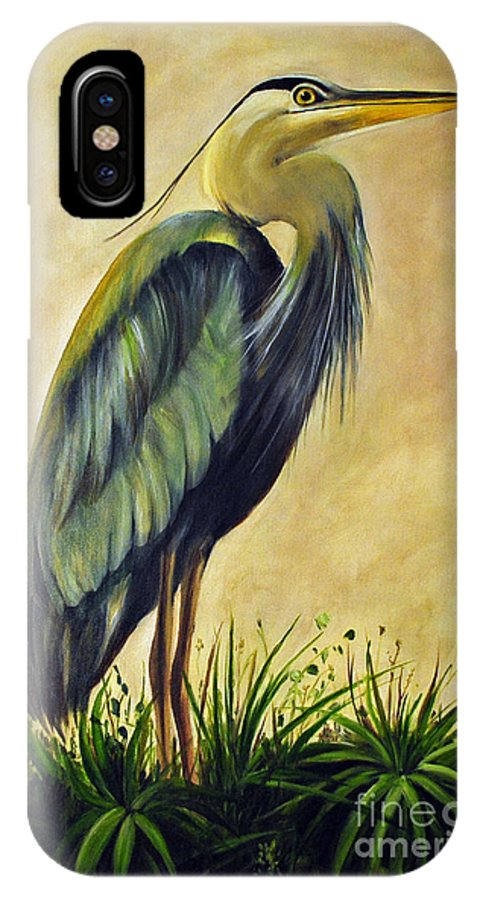 Egert IPhone X Case featuring the painting Great Blue Heron by Carolyn Shireman