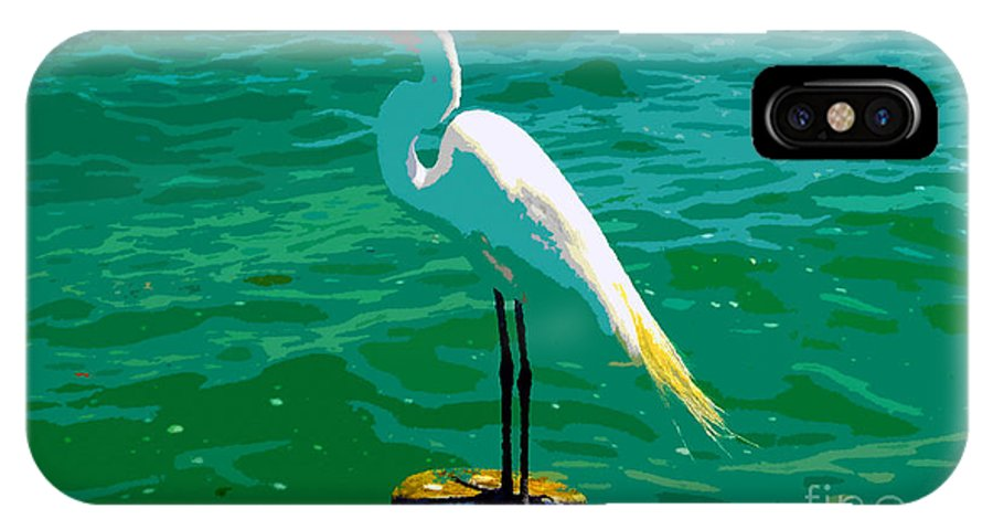 Great Egret IPhone X Case featuring the painting Great Egret Emerald Sea by David Lee Thompson