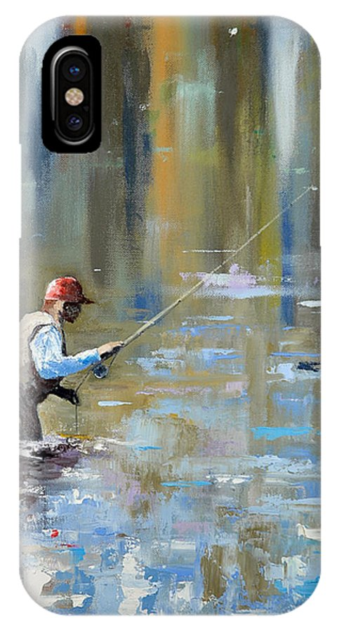 Flyfishing IPhone X Case featuring the painting Great Expectations by Glenn Secrest