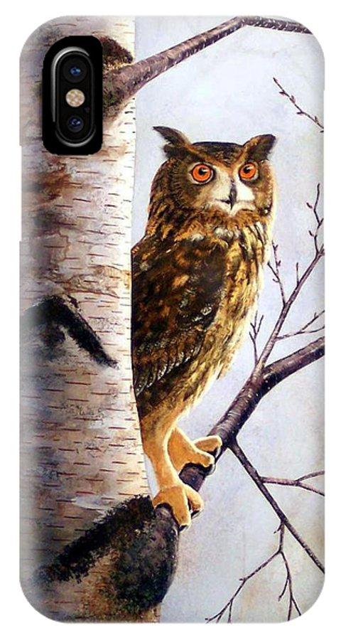 Great Horned Owl In Birch IPhone X Case featuring the painting Great Horned Owl In Birch by Frank Wilson