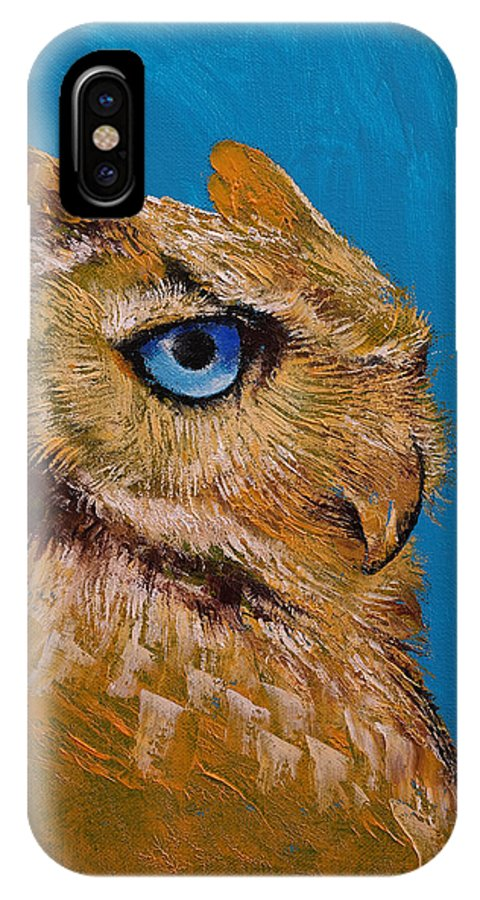 Art IPhone X Case featuring the painting Gold Owl by Michael Creese