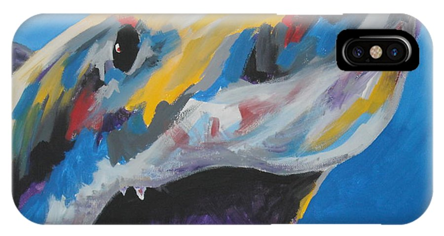 Shark IPhone X Case featuring the painting Great White by Caroline Davis