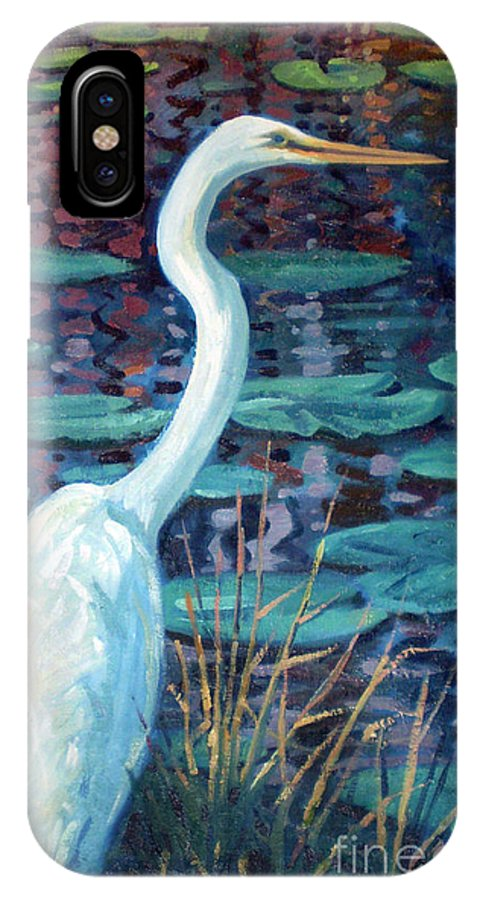 Egret IPhone X Case featuring the painting Great White Egret by Donald Maier