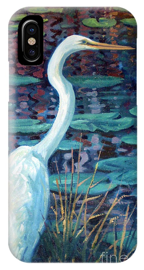 Egret IPhone X / XS Case featuring the painting Great White Egret by Donald Maier