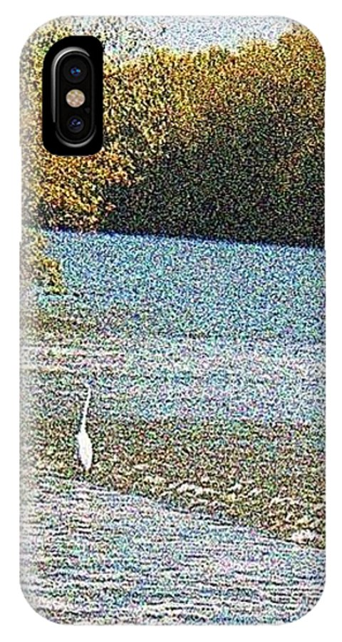 Great White Egret IPhone X Case featuring the photograph Great White Egret Fishing by Raida Khamis