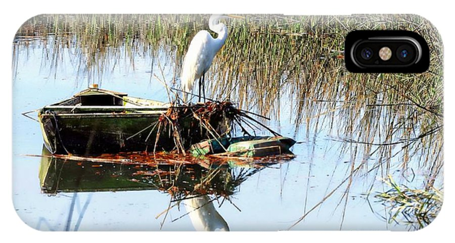 Great White Egret In Row Boat IPhone X Case featuring the photograph Great White On Row Boat by William Bosley