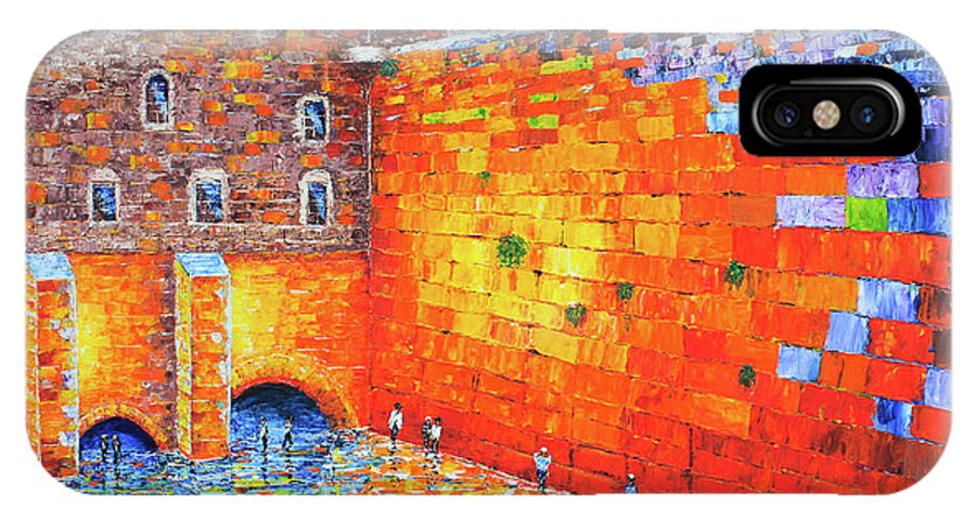 Jerusalem Wailing Wall IPhone X Case featuring the painting Wailing Wall Greatness In The Evening Jerusalem Palette Knife Painting by Georgeta Blanaru