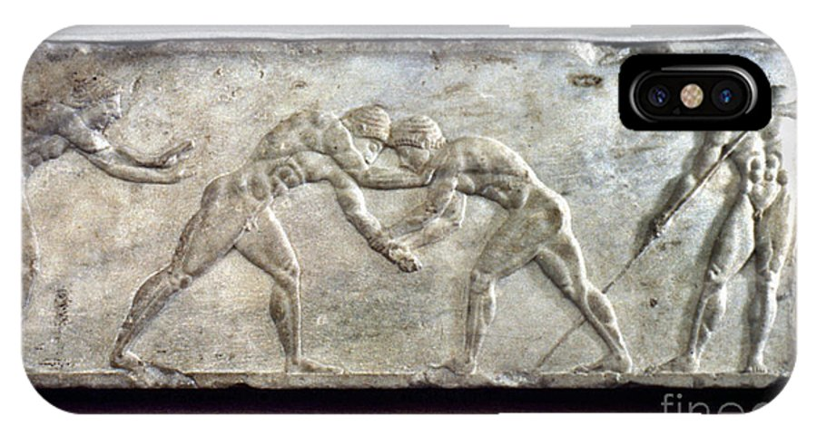 Ancient IPhone X Case featuring the photograph Greece: Wrestlers by Granger
