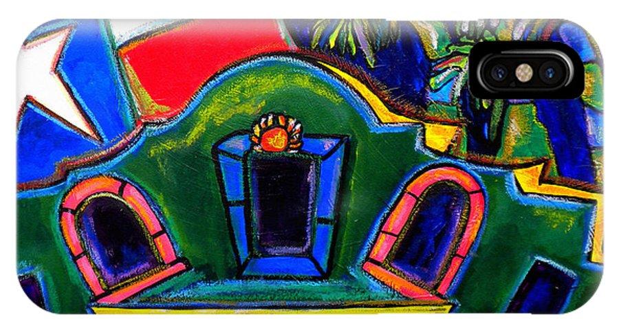 The Alamo IPhone X Case featuring the painting Green Alamo by Patti Schermerhorn
