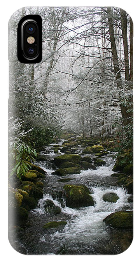 Green Snow Tree Trees Winter Stream River Creek Water Stone Rock Flow Boulder Forest Woods Cold IPhone Case featuring the photograph Green And White by Andrei Shliakhau