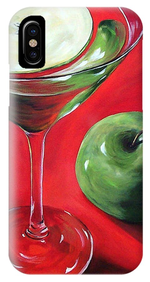 Martini IPhone X Case featuring the painting Green Apple Martini by Torrie Smiley