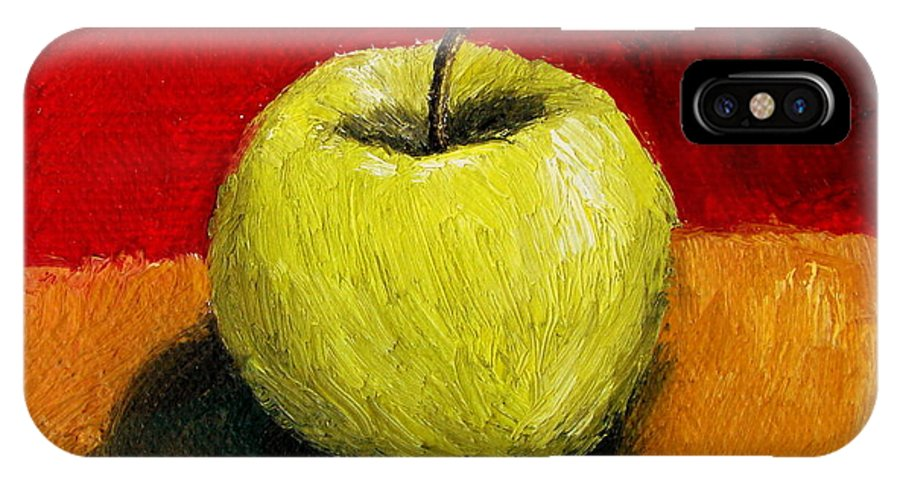 Apple IPhone X Case featuring the painting Green Apple With Red And Gold by Michelle Calkins