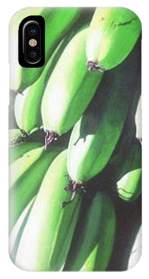 Hyperrealism IPhone X Case featuring the painting Green Bananas I by Michael Earney