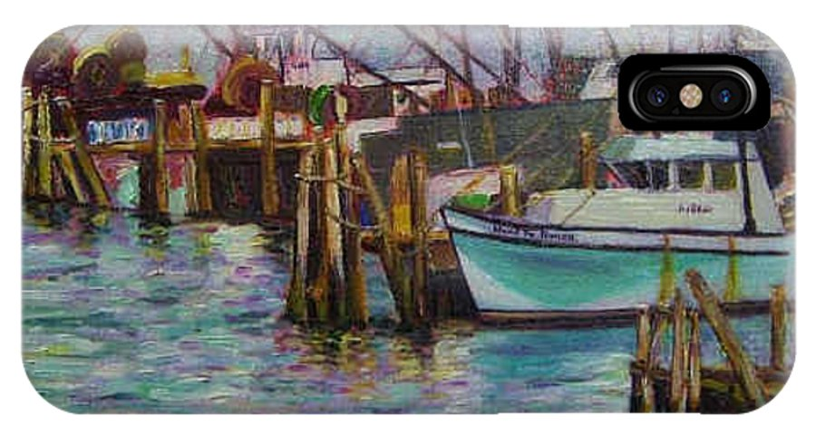 Boat IPhone Case featuring the painting Green Boat At Rest- Nova Scotia by Richard Nowak