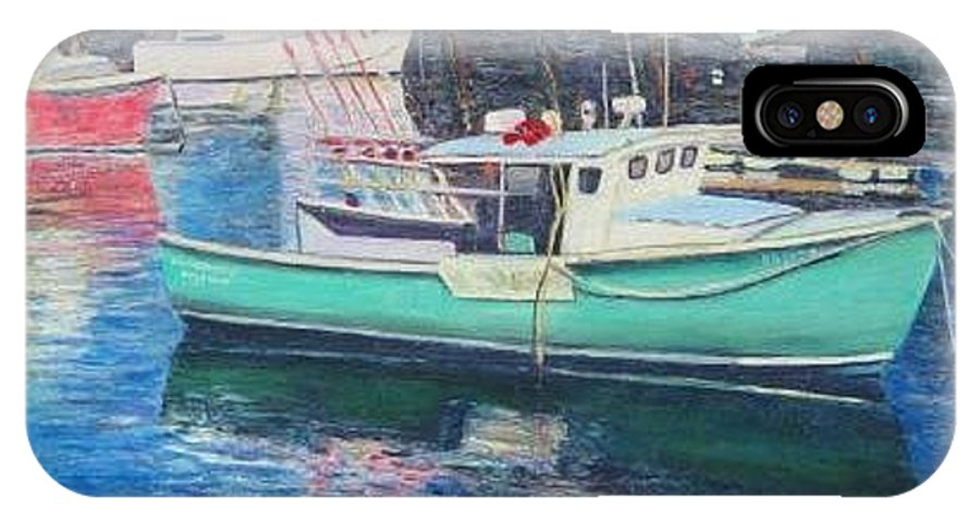 Water IPhone X Case featuring the painting Green Boat Reflections by Richard Nowak