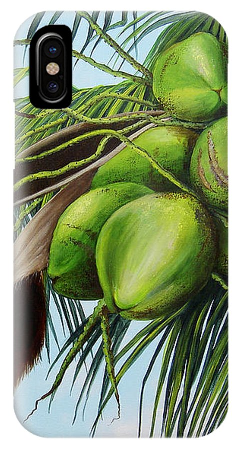 Coconuts IPhone X Case featuring the painting Green Coconuts- 01 by Dominica Alcantara