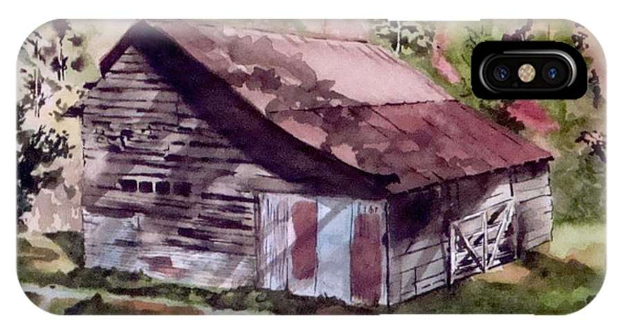 Barns IPhone X Case featuring the painting Green Creek Barn by Jean Blackmer