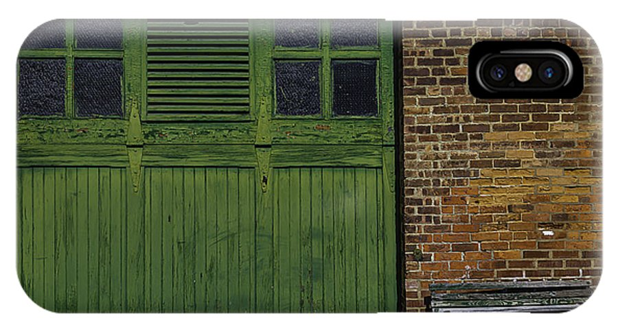 Green IPhone X Case featuring the photograph Green Door Shaker Wash House by Garry Gay
