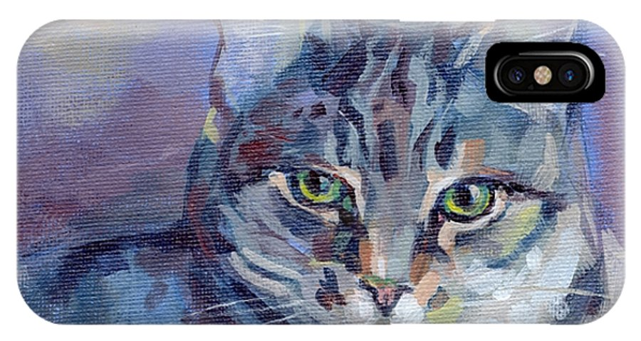 Tabby Cat IPhone X Case featuring the painting Green Eyed Tabby - Thomasina by Kimberly Santini