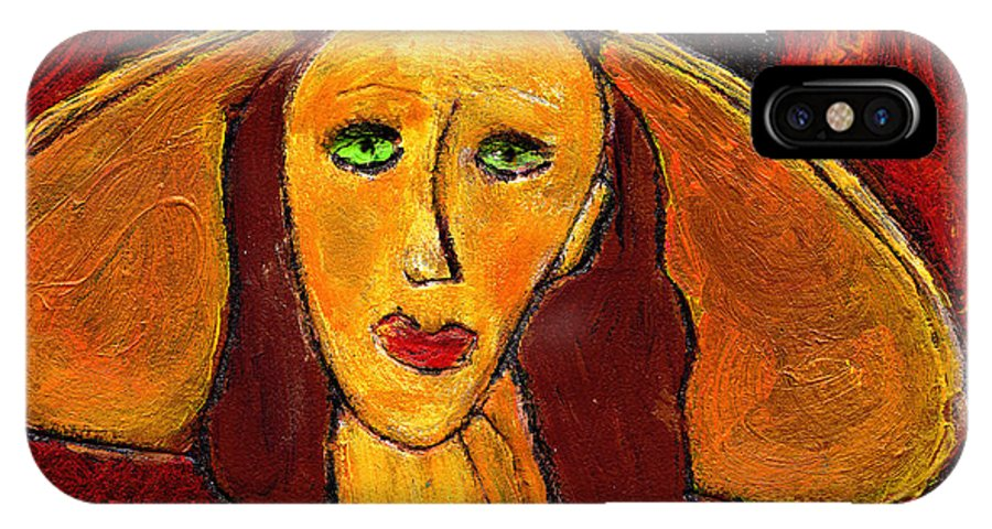 Hat IPhone X Case featuring the painting Green Eyes by Wayne Potrafka