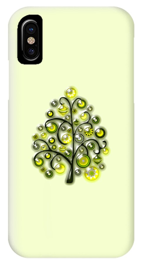 Interior IPhone X Case featuring the digital art Green Glass Ornaments by Anastasiya Malakhova