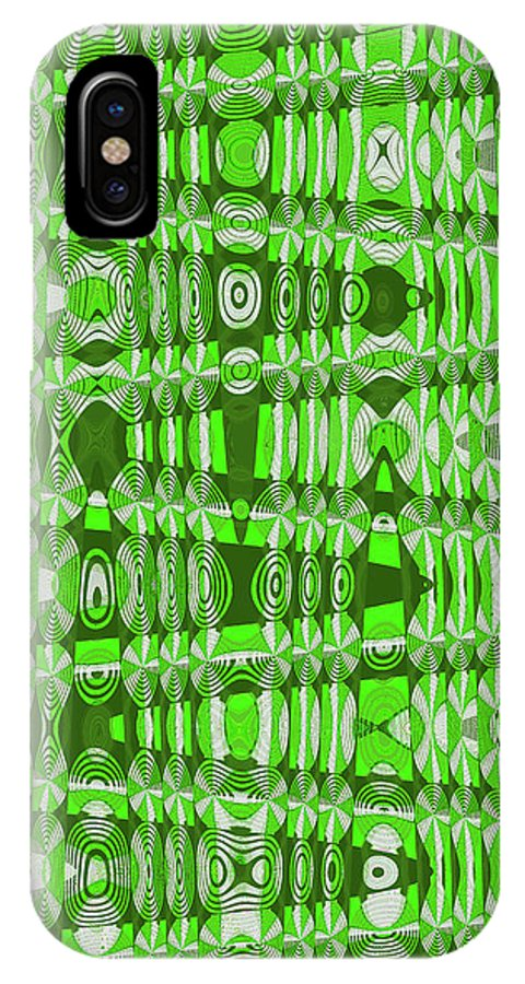 Green IPhone X Case featuring the digital art Green Heavy Screen Abstract by Tom Janca