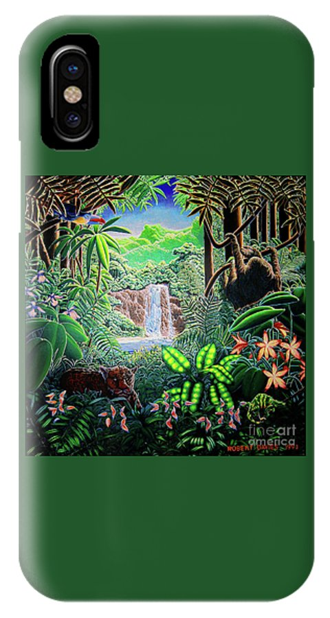 Green IPhone X Case featuring the painting Green Jewel Jungle by Robert Davies