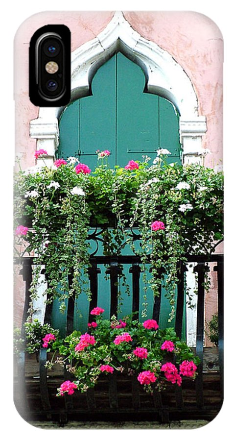 Green IPhone X Case featuring the photograph Green Ornate Door With Geraniums by Donna Corless