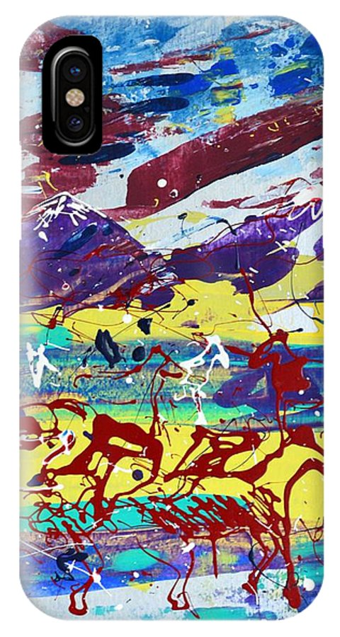 Horses Grazing IPhone X Case featuring the painting Green Pastures And Purple Mountains by J R Seymour