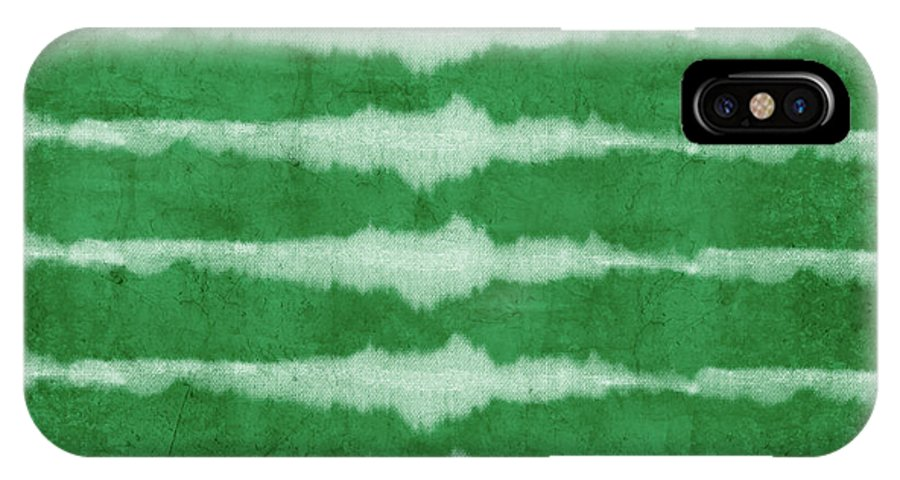 Shibori IPhone X Case featuring the mixed media Green Shibori 3- Art By Linda Woods by Linda Woods