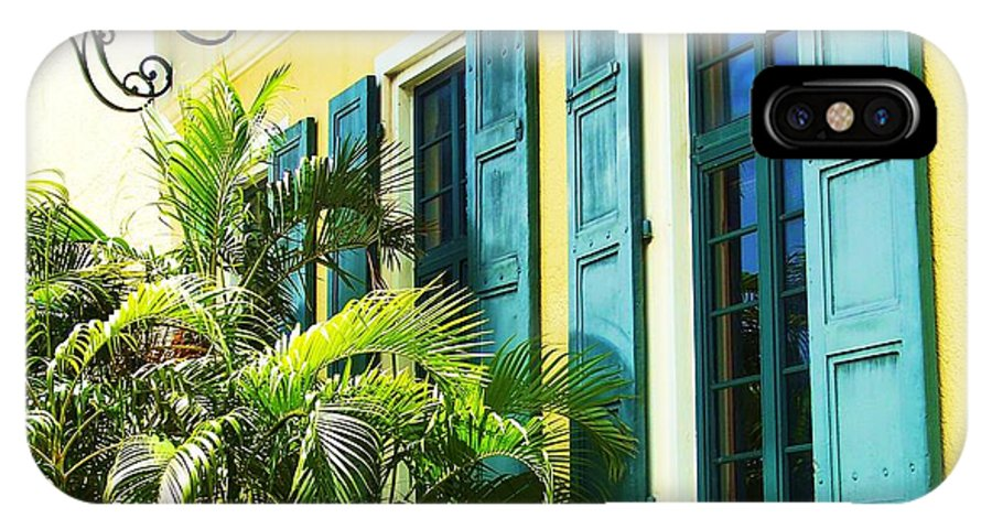 Architecture IPhone X Case featuring the photograph Green Shutters by Debbi Granruth