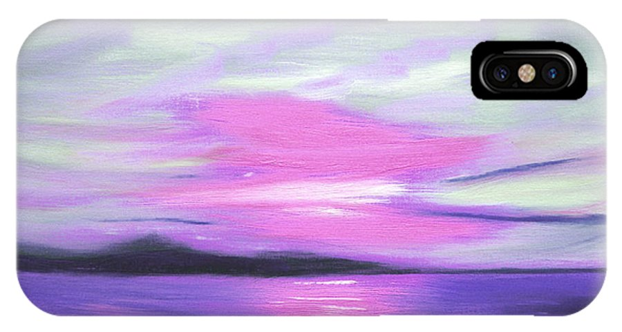 Green IPhone X Case featuring the painting Green Skies And Purple Seas Sunset by Gina De Gorna