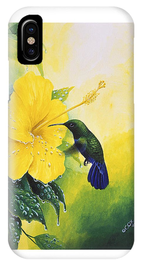 Chris Cox IPhone Case featuring the painting Green-throated Carib Hummingbird And Yellow Hibiscus by Christopher Cox