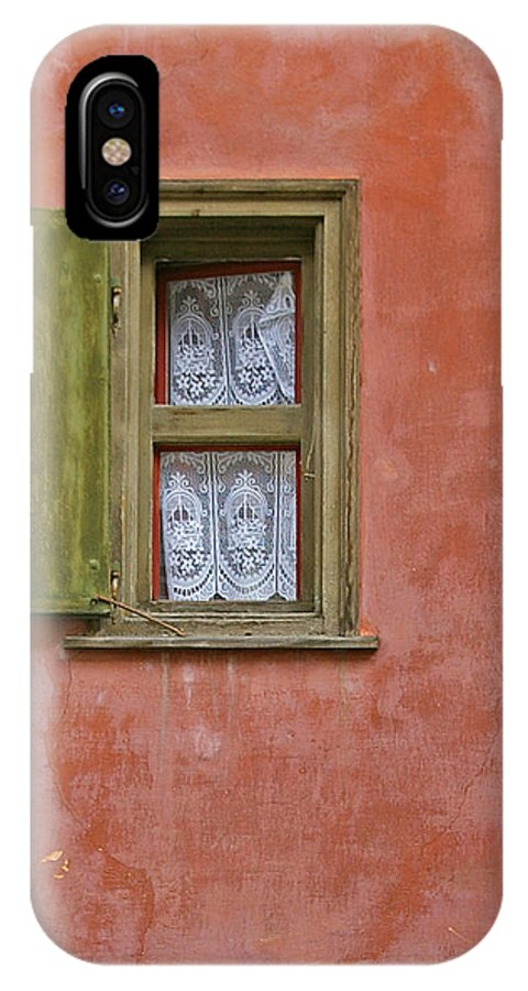 Red IPhone X Case featuring the photograph Green Window On A Red Wall by Tom Reynen