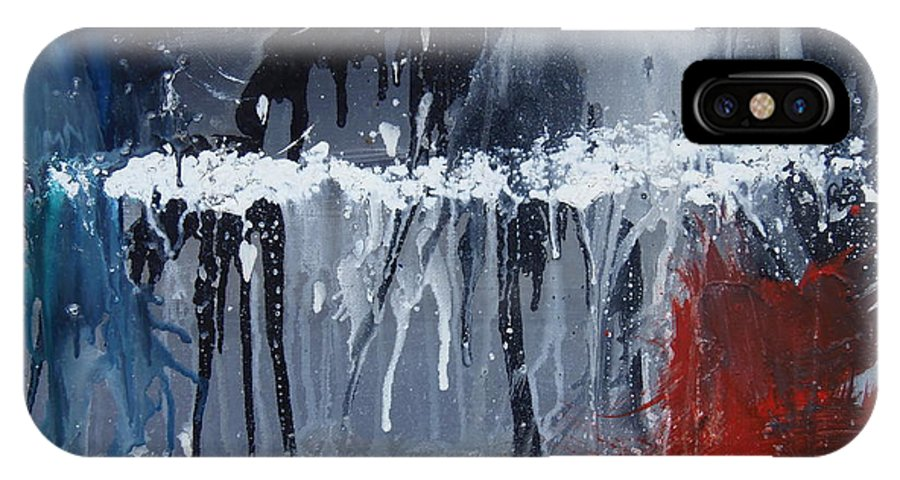 Abstract IPhone X Case featuring the painting Greenhouse Effect On The Arctic Circle by Max Bowermeister
