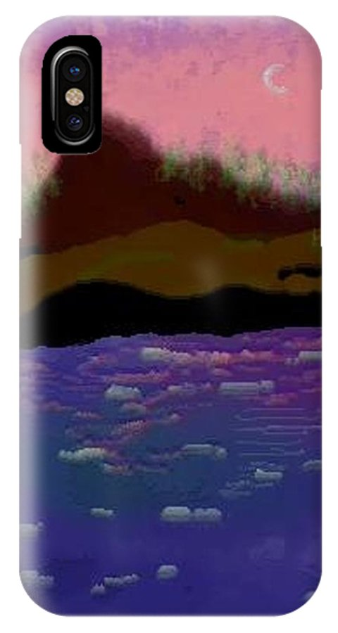 Sky.moon. Rose Sun Reflection.mount.forest. Island.sea.little Icebergs.deep Water IPhone X Case featuring the digital art Greenland.summer by Dr Loifer Vladimir