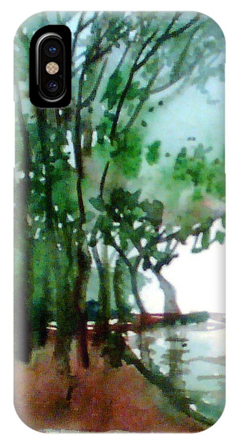 Water Color IPhone X Case featuring the painting Greens by Anil Nene