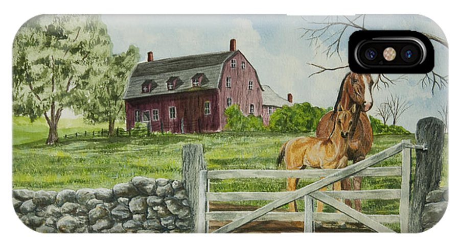 Horses IPhone X Case featuring the painting Greeting At The Gate by Charlotte Blanchard