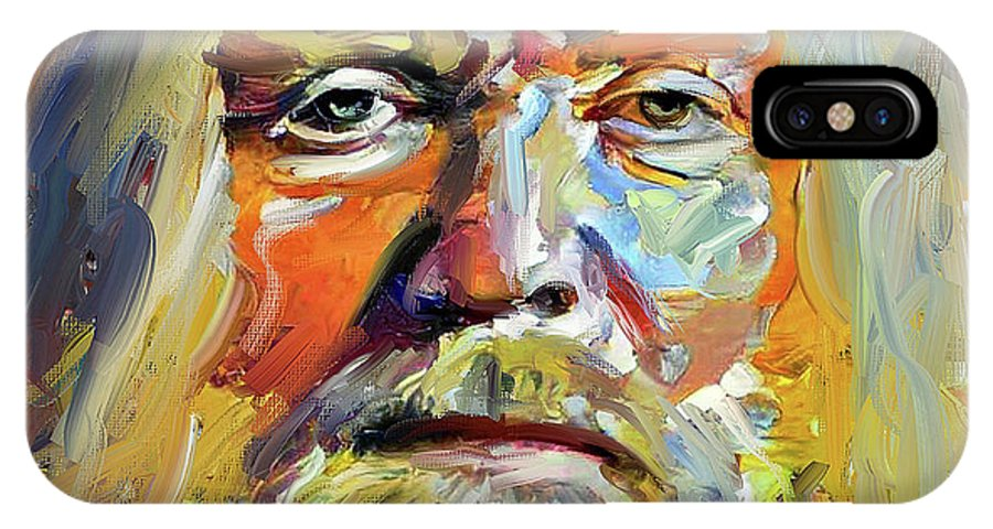 Greg IPhone X Case featuring the digital art Greg Allman Tribute Portrait by Yury Malkov
