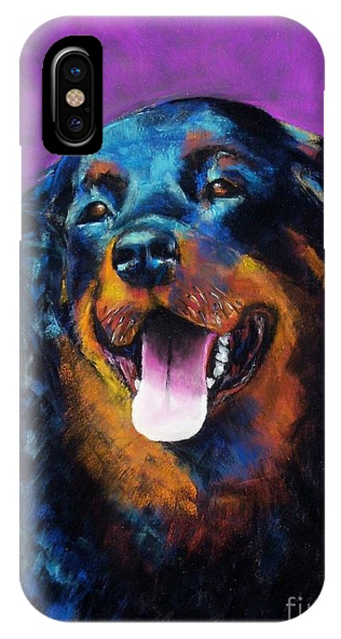 Rottweiler IPhone X Case featuring the painting Gretchen by Frances Marino