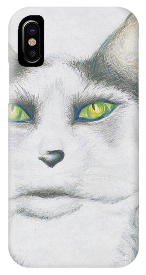 Cat IPhone X Case featuring the drawing Gretta by Kim Sy Ok
