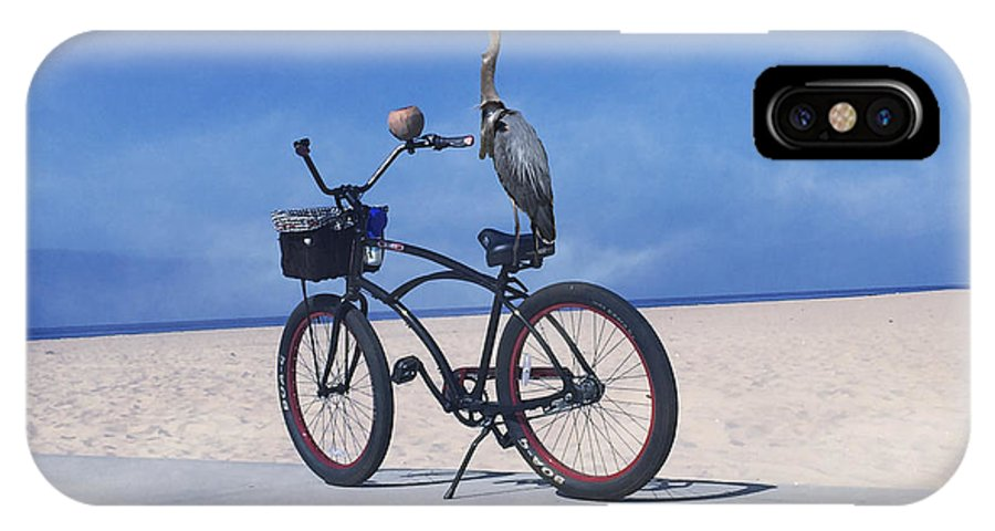 Bicycle IPhone X Case featuring the photograph Grey Heron On Bicycle by Bette Levine
